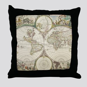 Vintage Map of The World (1680) Throw Pillow