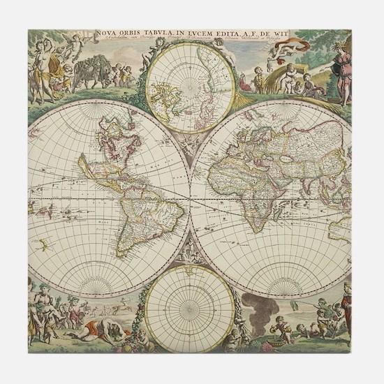 Vintage Map of The World (1680) Tile Coaster