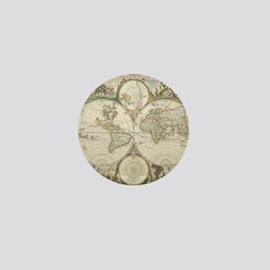 Vintage Map of The World (1680) Mini Button