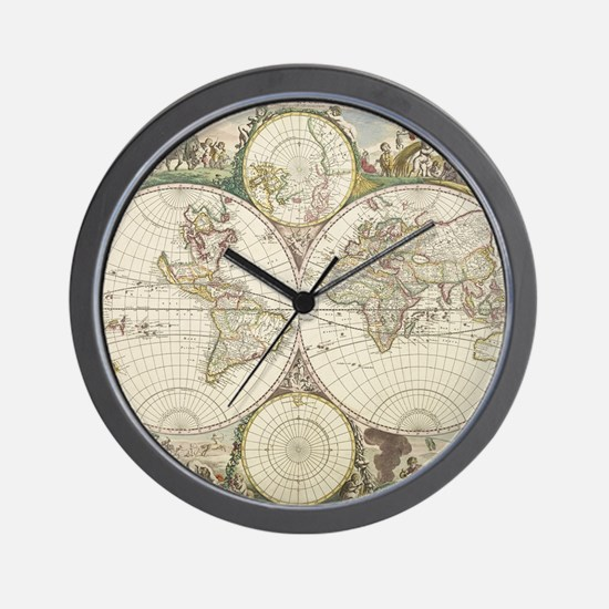 Vintage Map of The World (1680) Wall Clock