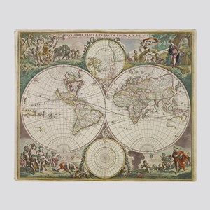 Vintage Map of The World (1680) Throw Blanket