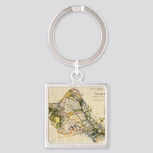Vintage Map of Oahu Hawaii (1906) Square Keychain