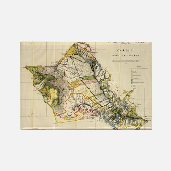 Vintage Map of Oahu Hawaii (1906) Rectangle Magnet