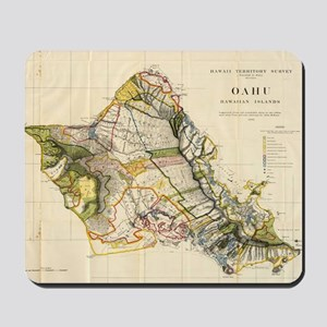Vintage Map of Oahu Hawaii (1906) Mousepad
