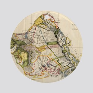 Vintage Map of Oahu Hawaii (1906) Round Ornament
