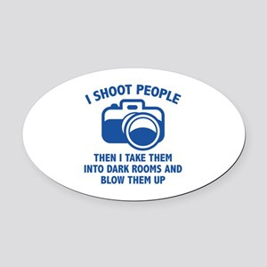 I Shoot People Oval Car Magnet