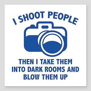 "I Shoot People Square Car Magnet 3"" x 3"""
