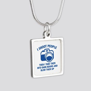 I Shoot People Silver Square Necklace