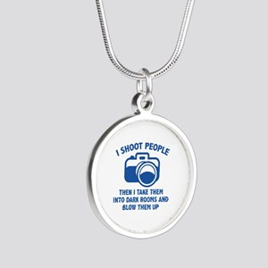 I Shoot People Silver Round Necklace