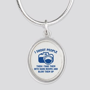 I Shoot People Silver Oval Necklace
