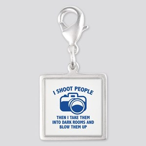 I Shoot People Silver Square Charm
