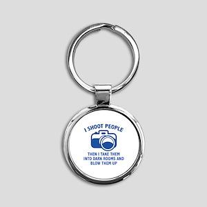 I Shoot People Round Keychain