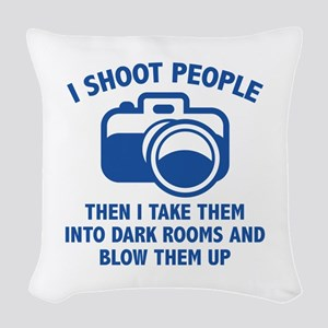 I Shoot People Woven Throw Pillow