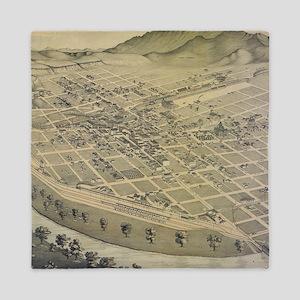 Vintage Pictorial Map of El Paso Texas Queen Duvet