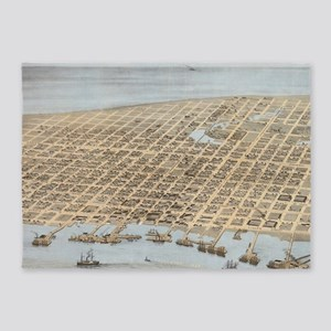 Vintage Pictorial Map of Galveston  5'x7'Area Rug