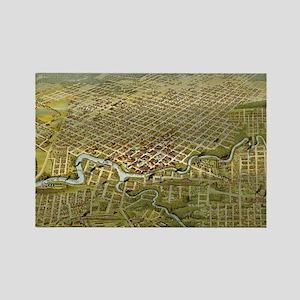 Vintage Map of Houston Texas (189 Rectangle Magnet