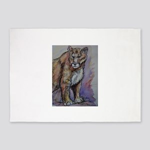 Mountain lion! Wildlife art! 5'x7'Area Rug