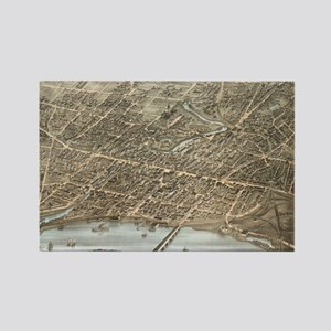 Vintage Pictorial Map of Hartford Rectangle Magnet