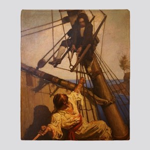 One more step Mr. Hands - N.C. Wyeth Throw Blanket