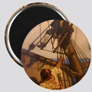 One more step Mr. Hands - N.C. Wyeth painti Magnet