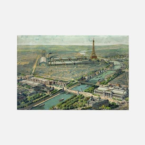 Vintage Pictorial Map of Paris (1 Rectangle Magnet