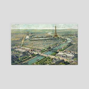 Vintage Pictorial Map of Paris (1900) Area Rug