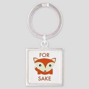For Fox Sake Square Keychain