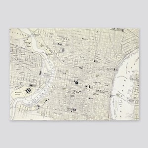 Vintage Map of Philadelphia (1885) 5'x7'Area Rug