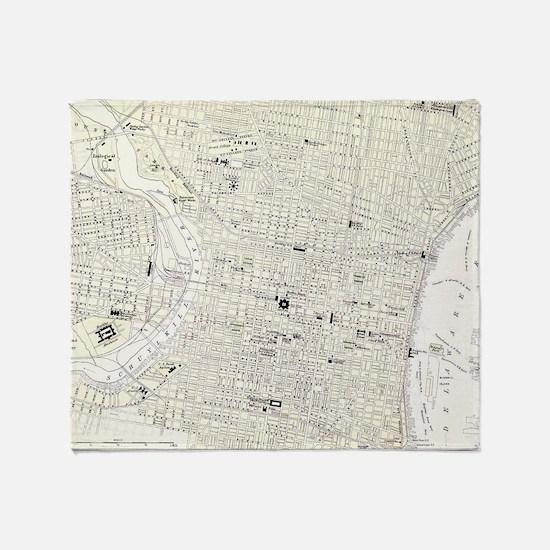 Vintage Map of Philadelphia (1885) Throw Blanket
