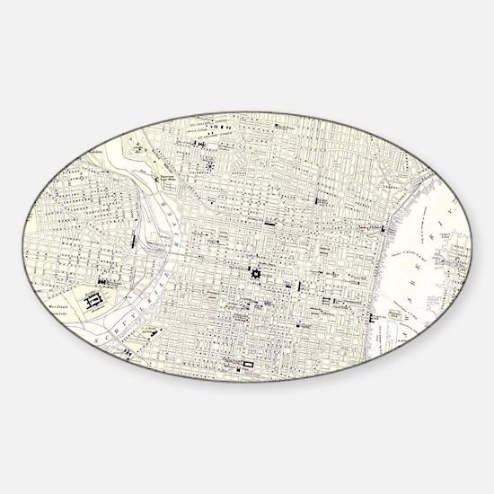 Vintage Map of Philadelphia (1885) Sticker (Oval)