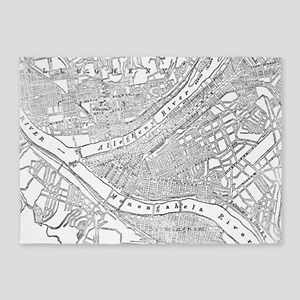 Vintage Map of Pittsburgh (1885)  5'x7'Area Rug