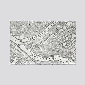 Vintage Map of Pittsburgh (1885)  Rectangle Magnet