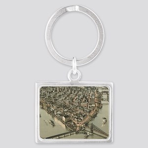 Vintage Pictorial Map of Pittsb Landscape Keychain