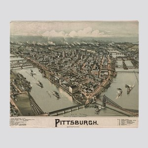 Vintage Pictorial Map of Pittsburgh  Throw Blanket
