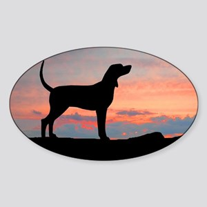 Bluetick Coonhound Sunset Oval Sticker
