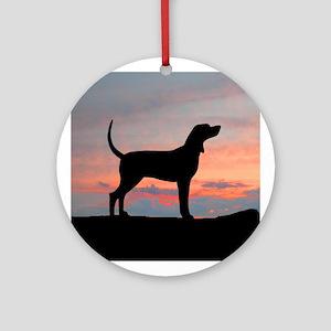 Bluetick Coonhound Sunset Ornament (Round)