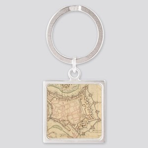Vintage Map of Luxembourg (1686) Square Keychain