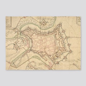 Vintage Map of Luxembourg (1686) 5'x7'Area Rug