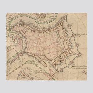Vintage Map of Luxembourg (1686) Throw Blanket