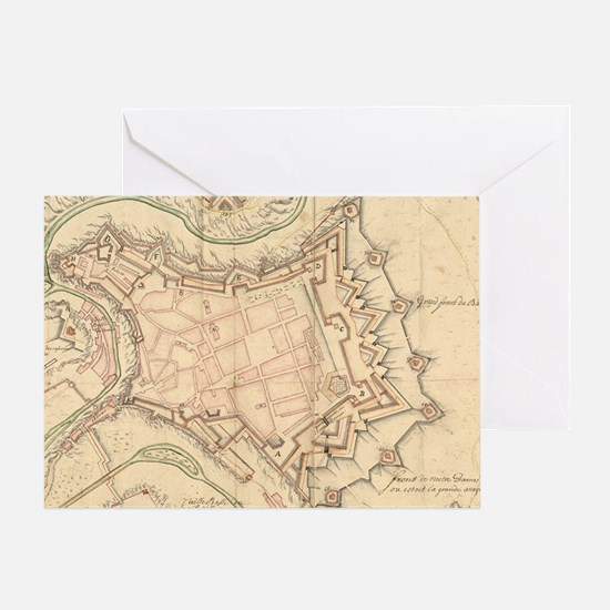 Vintage Map of Luxembourg (1686) Greeting Card