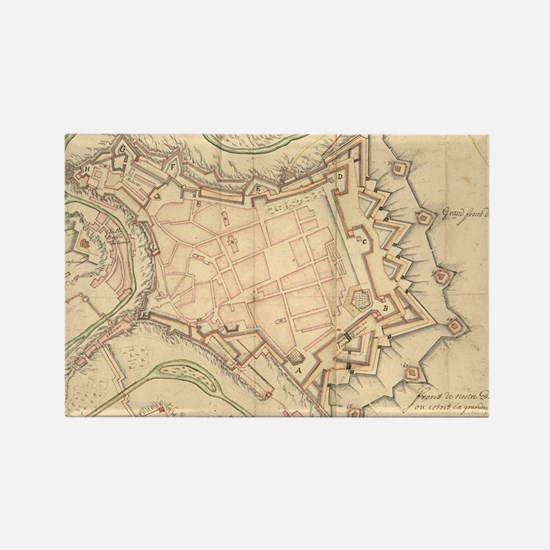Vintage Map of Luxembourg (1686) Rectangle Magnet