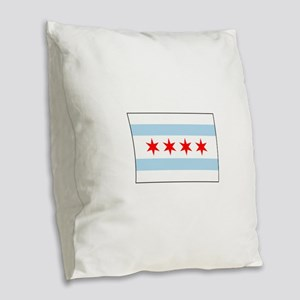 Chicago, Illinois USA Burlap Throw Pillow