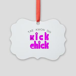 Kick Chick Tae Kwon Do SQ Picture Ornament