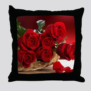 Superb Red Roses Throw Pillow