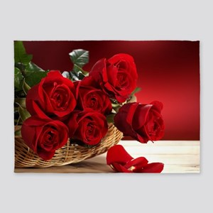 Superb Red Roses 5'x7'Area Rug