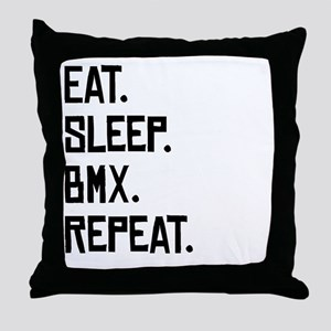 Eat Sleep BMX Repeat Throw Pillow