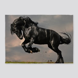 Beautiful Black Horse 5'x7'Area Rug