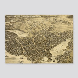 Vintage Pictorial Map of Portsmouth 5'x7'Area Rug