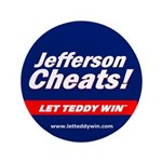 "Jefferson Cheats! Oversized 3.5"" Button"
