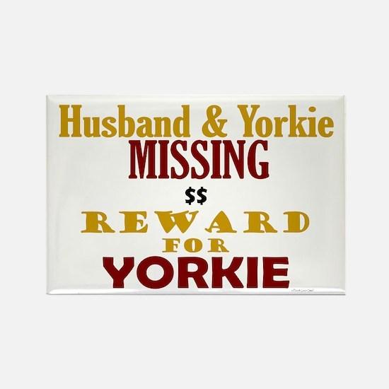 Husband & Yorkie Missing Rectangle Magnet